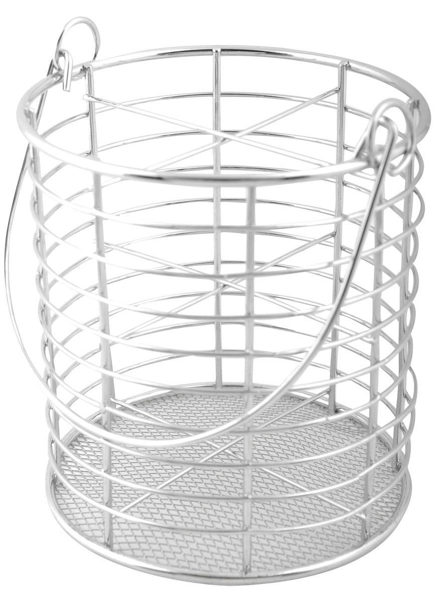 Подставка для столовых приборов Trina. 93-TR-05-0421395599Подставка для столовых приборов Linea Trina представляет собой каркас из стального хромированного прутка со стальной сеткой в нижней части. Разделенная на четыре секции, данная подставка позволяет аккуратно хранить основные типы столовых приборов: ножи, ложки, вилки, чайные ложки. Подставка снабжена удобной подвижной ручкой. Вы можете установить ее в любом удобном месте. Такая подставка для столовых приборов станет полезным аксессуаром в домашнем быту и идеально впишется в интерьер современной кухни. Характеристики: Материал: сталь. Высота подставки: 14 см. Диаметр подставки: 12 см. Размер упаковки: 15 см х 13 см х 13 см. Производитель:Италия. Артикул:93-TR-05-04.