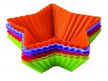 Набор форм для выпечки и заморозки Тарталетки - звезды, 6 шт93-SI-S-17.1Набор форм для выпечки и заморозки Тарталетки - звезды состоит из 6 разноцветных силиконовых форм, выполненных в форме звезды.Силиконовыеформы для выпечки и заморозки продуктов имеют много преимуществ по сравнению с традиционными металлическими формами и противнями. Они идеально подходят для использования в микроволновых, газовых и электрических печах при температурах до +230°С. В случае заморозки до -40°С.За счет высокой теплопроводности силикона изделия выпекаются заметно быстрее. Благодаря гибкости и антиприлипающим свойствам силикона, готовое изделие легко извлекается из формы. Для этого достаточно отогнуть края и вывернуть форму (выпечке дайте немного остыть, а замороженный продукт лучше вынимать сразу).Силикон абсолютно безвреден для здоровья, не впитывает запахи, не оставляет пятен, легко моется.Набор форм для выпечки и заморозки Тарталетки - звезды - практичный и необходимый подарок любой хозяйке! Характеристики:Материал: силикон.Цвет: оранжевый, голубой, зеленый, красный, фиолетовый, сиреневый.Размер силиконовой формы: 11 см х 11 см х 3,5 см.Размер упаковки: 20 см х 14 см х 3 см.Артикул: 93-SI-S-17.1.