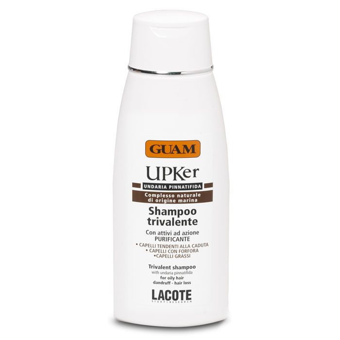 Guam Шампунь тройного действия UPKer, 200 млFS-54114Шампунь тройного действия Guam UPKer справляется с выпадением волос, с жирной кожей головы и перхотью. Мягко очищает волосы и кожу головы. Стимулирует рост волос, нормализует трихологические нарушения, вызванные излишком салоотделения или перхотью. Укрепляет структуру волос, возвращает им блеск и жизненную силу. Характеристики:Объем: 200 мл. Артикул: 2088. Производитель: Италия. Товар сертифицирован.