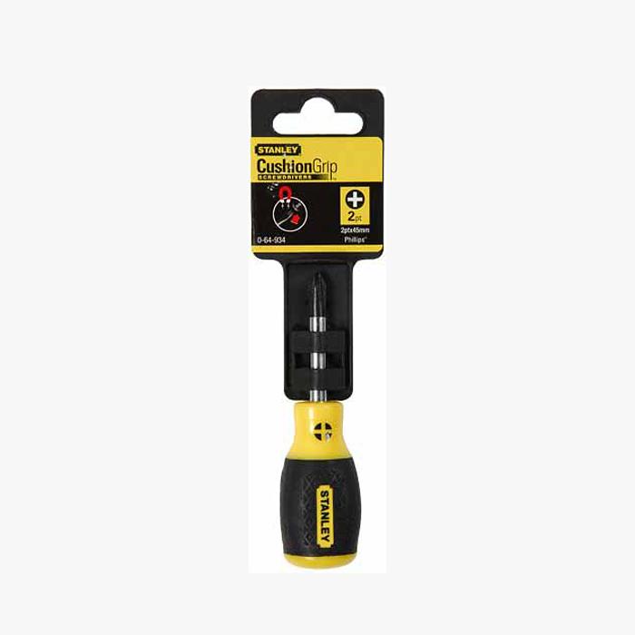 Отвертка крестовая Stanley CushionGrip, PH2 х 45 мм98293777Отвертка крестовая Stanley CushionGrip имеет мягкую ручку для высокого комфорта и надежного контроля инструмента. Стержень покрыт хромом для защиты от коррозии. Подходит под шлиц Phillips. Характеристики: Материал: пластик, металл, резина. Размер отвертки: 10 см х 3 см х 3 см. Размер основания: 4,5 см х 0,6 см х 0,6 см. Диаметр жала: 0,6 см. Размер ручки: 5,5 см х 3 см х 3 см. Размеры упаковки:16,5 см х 5 см х 3 см.