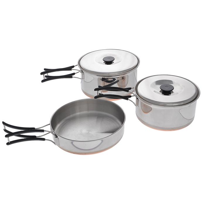 Набор походной посуды RockLand, цвет: стальной, 5 предмета. С758-21301210Набор походной посуды RockLand, изготовленный из нержавеющей стали, идеально подойдет для приготовления пищи во время похода на 2 персоны. Набор включает в себя две небольшие кастрюли с крышками и складными ручками, а также сковороду со складной ручкой. Для большего комфорта ручки покрыты пластиком. Посуда легкая и компактно складывается, поэтому не займет много места, для большего удобства в комплект входит удобный чехол.Объемы кастрюли: 1,3 л; 0,9 л.Размер большой кастрюли: 17 см х 17 см х 8 см.Размер маленькой кастрюли: 15 см х 15 см х 7 см.Объем сковороды: 0,8 л.Размер сковороды (без учета ручки): 16 см х 16 см х 3,5 см.