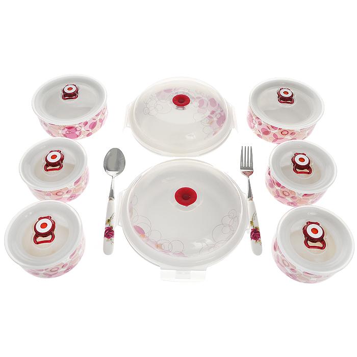 Подарочный набор контейнеров для продуктов Darsto, 10 предметов. 5783A10FA-5125 WhiteНабор Darsto, выполненный из высококачественной керамики, состоит из восьми круглых контейнеров разного диаметра с крышками. Вакуумные контейнеры могут использоваться как емкости для хранения пищевых продуктов, а также в качестве салатников или посуды для сервировки стола. Контейнер оснащен пластиковой вакуумной крышкой для длительного сохранения продуктов свежими. Воздух в контейнере сжимается благодаря нажатию на клапан, расположенный на крышке. Открывается контейнер после поднятия клапана. Все контейнеры имеют разный объем, поэтому для удобства хранения их можно складывать друг в дружку по принципу матрешки. Изделия можно использовать в СВЧ-печи, духовых шкафах и холодильнике: выдерживают большие перепады температуры (до 250С). Можно мыть в посудомоечной машине. Внутренняя часть коробки украшено желтым атласом, и каждый предмет надежно закреплен. Эстетичность и необыкновенная функциональность набора Darsto позволит ему стать достойным дополнением к вашему кухонному инвентарю. Характеристики:Материал: керамика, пластик. Объем: 310 мл; 540 мл; 1,2 л. Диаметр контейнеров: 4 шт х 10,8 см; 2 шт х 13,6 см; 2 шт х 16,2 см. Высота контейнеров: 4 шт х 6,3 см; 2 шт х 6,2 см; 2 шт х 6,3 см. Длина ложки: 20 см. Длина вилки: 20 см. Размер упаковки: 45 см х 55 см х 9 см. Производитель: Китай.