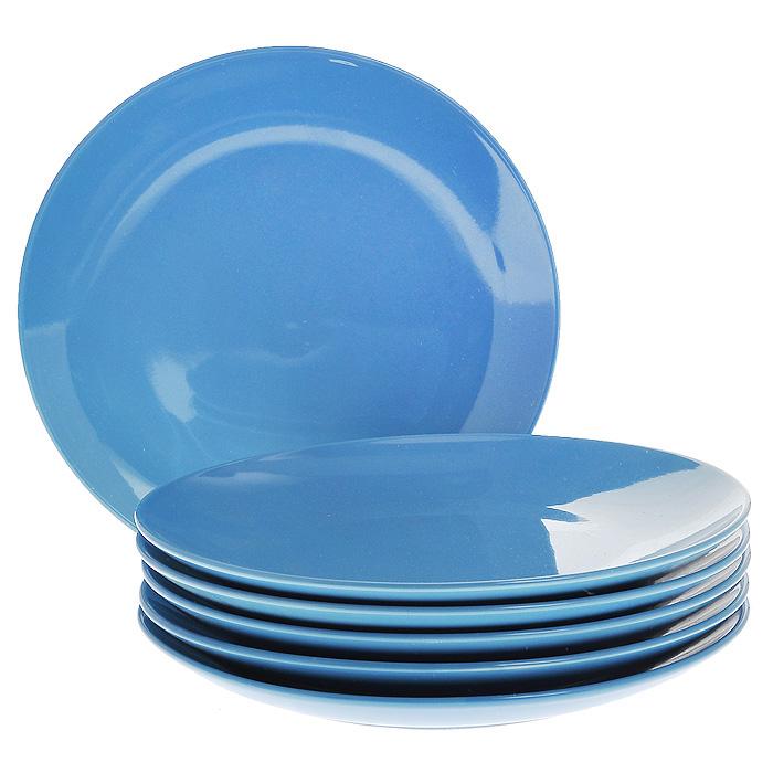 Набор тарелок, цвет: синий, 210 мл, 6 штFS-91909Набор включает в себя шесть тарелок, выполненных из высококачественной керамики. Лаконичность оформления набора придется по вкусу и ценителям классики, и тем, кто предпочитает утонченность и изысканность.Тарелки являются экологически безопасными, так как не содержат кадмия и свинца. Характеристики:Материал:керамика. Диаметр тарелки:21,5 см. Комплектация:6 шт. Размер упаковки:21,5 см х 21 см х 8 см. Артикул:Кт CG-911C-BL.