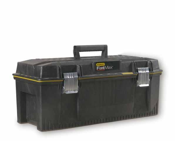 Ящик для инструментов Stanley FatMax, влагозащитный, 281-83-069Ящик для инструмента профессиональный FatMax из структулена влагозащитный повышенной прочности и емкости предназначен для хранения и переноски инструментов.Водозащитное уплотнение по периметру ящика для исключительной защиты содержимого.Переносной лоток для транспортировки инструмента и мелких деталей, при этом в ящике остается место под крупный инструмент, поскольку длина лотка составляет всего 3/4 от длины ящика.Изготовлен из структулена для обеспечения жесткости и прочности.Большие металлические с защитой от коррозии замки с возможностью использования навесного замка (в комплект поставки не входит). V-образный паз в крышке ящика для удобства расположения детали при пилении.Прочная эргономичная ручка с мягкими вставками позволяет с легкостью переносить тяжелые вещи. Характеристики: Материал:структулен. Размеры ящика: 71 см x 30,8 см x 28,5 см. Глубина ящика: 22 см. Размеры лотка: 42 см х 26 см х 4 см. Размеры упаковки: 71 см x 30,8 см x 28,5 см.