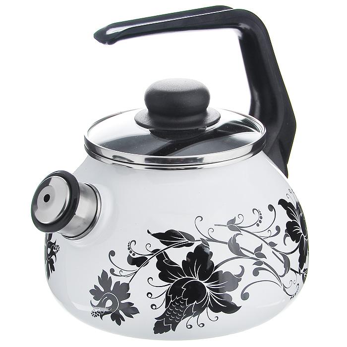 Чайник Tango со свистком, цвет: белый, черный, 2 л391602Чайник Tango изготовлен из высококачественного стального проката со стеклокерамическим покрытием. Корпус белого цвета оформлен изящным узором. Стеклокерамика инертна и устойчива к пищевым кислотам, не вступает во взаимодействие с продуктами и не искажает их вкусовые качества. Прочный стальной корпус обеспечивает эффективную тепловую обработку пищевых продуктов и не деформируется в процессе эксплуатации. Чайник оснащен черной пластиковой удобной ручкой. Крышка чайника выполнена из стекла с пароотводом, что позволяет сохранять тепло. Носик чайника с насадкой-свистком позволит вам контролировать процесс подогрева или кипячения воды. Чайник Tango пригоден для использования на всех видах плит, включая индукционные. Можно мыть в посудомоечной машине. Характеристики:Материал: нержавеющая сталь, пластик, стекло. Цвет: белый, черный. Объем: 2 л. Диаметр основания чайника: 18 см. Высота чайника (с учетом ручки): 22 см. Размер упаковки: 20 см х 25 см х 20 см. Артикул: 8RA12.