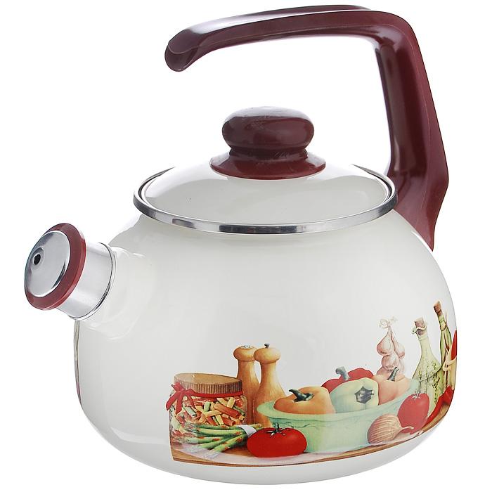Чайник Вилладжо со свистком, цвет: молочный, коричневый, 2,5 л