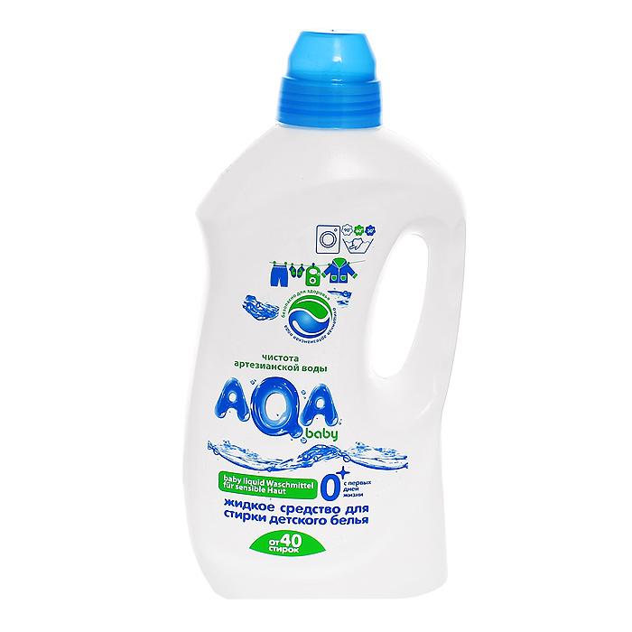 """Жидкое средство """"AQA baby"""" разработано специально для детского белья - с первых дней жизни. Содержит энзимы - высокоэффективные натуральные компоненты, усиливающие отстирывающую способность  средства и удаляющие как заметные, так и невидимые  загрязнения. Не содержат фосфатов, хлора, """"плохих"""" консервантов и  красителей и других химических агрессивных  компонентов. Сбалансированный рН продукта - не снижает отстирывающую способность, но и не портит кожу рук. Быстро и без остатков вымывается в процессе полоскания. Для всех типов стиральных машин и ручной стирки при от 30°С до 90°С.   Характеристики:Объем: 1500 мл. Товар сертифицирован."""