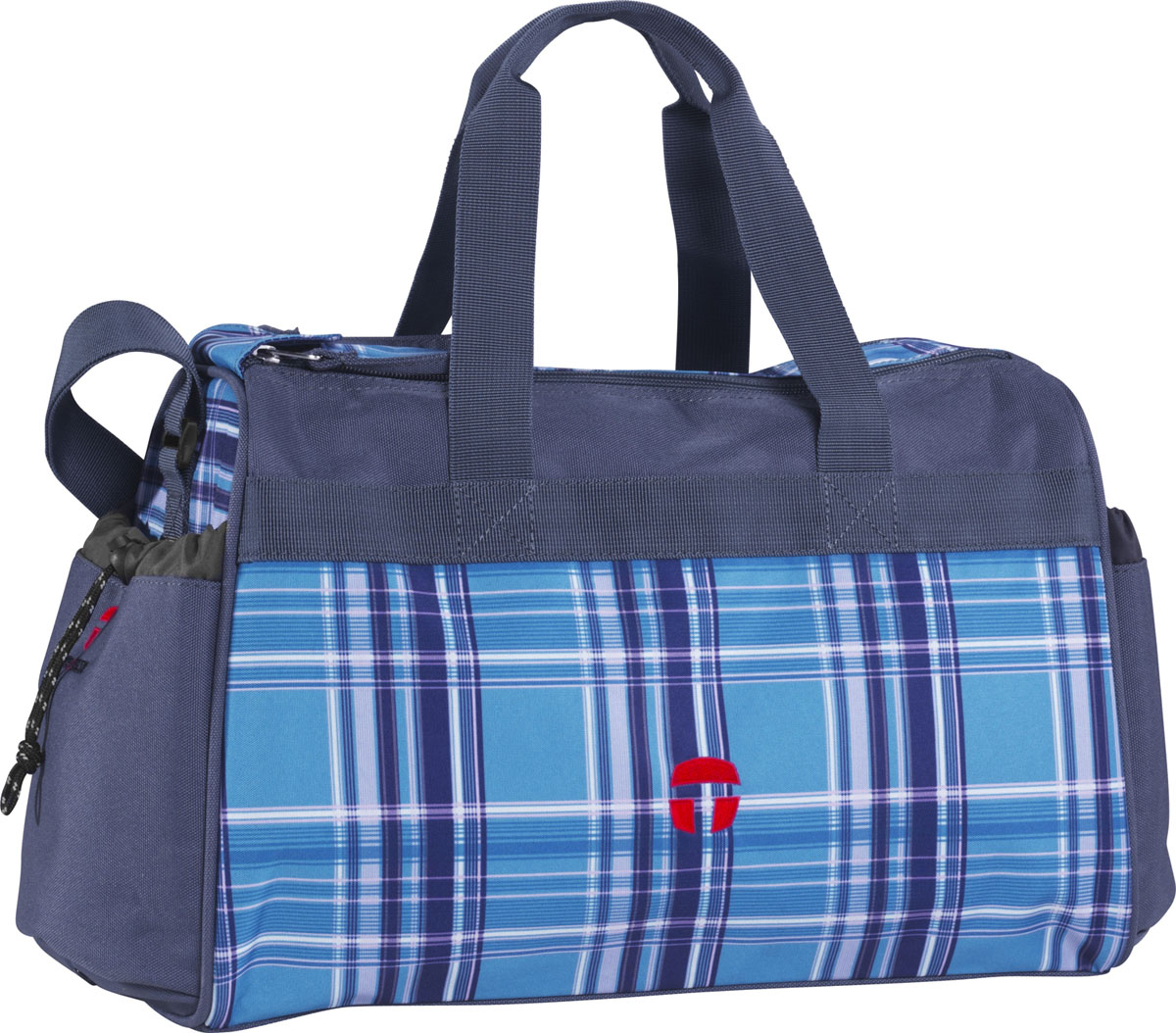 Сумка спортивная McNeil Виола, цвет: голубой, 37 см х 20 см х 25 см6416Спортивная сумка McNeil Виола предназначена для переноски спортивных вещей, обуви и инвентаря. Сумка ручной работы выполнена из современных резистентных материалов и оформлена принтом в голубую клетку. Сумка имеет одно вместительное отделение, закрывающееся на две застежки-молнии. Бегунки на застежках соединены общим текстильным держателем. На тыльной стороне сумки расположен внешний карман для обуви, закрывающийся на застежку молнию. По бокам находятся два внешних кармана, затягивающиеся сверху текстильным шнурком с фиксатором. Спортивная сумка оснащена двумя текстильными ручками для переноски в руке и плечевым ремнем, регулируемым по длине. На дне сумки расположены четыре широкие пластиковые ножки, которые защитят ее от грязи и продлят срок службы.Спортивные сумки McNeill- это высочайшее качество, функциональность и современный дизайн. Характеристики: Материал: текстиль, пластик, металл. Размер сумки: 37 см х 20 см x 25 см. Объем сумки: 18 л.