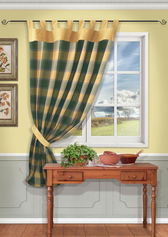 Штора Kauffort Вилла, на петлях, цвет: зеленый, высота 191 смс w191 v7000Штора Kauffort Вилла выполнена из качественного материала, изготовленного из хлопка, полиэстера и акрила. Полотно выполнено из клетчатой ткани зеленого цвета и украшено широким желтым кантом по верху. Для более изящного расположения шторы на окне прилагается подхват из ткани желтого цвета.Качественный материал, оригинальный дизайн и приятная цветовая гамма привлекут к себе внимание и органично впишутся в интерьер помещения. Штора оснащена петлями для крепления на круглый карниз. Штора Kauffort Вилла станет великолепным украшением любого окна. Характеристики: Материал: 55% хлопок, 30% полиэстер, 15% акрил. Цвет: зеленый. Размер упаковки: 37 см х 27 см х 2,5 см. Артикул: UN111213650.В комплект входит: Штора - 1 шт. Размер (Ш х В): 140 см х 191 см (отклонение размера ~3 см). Подхват - 1 шт. Размер (Ш х В): 8 см х 70 см (отклонение размера ~3 см).