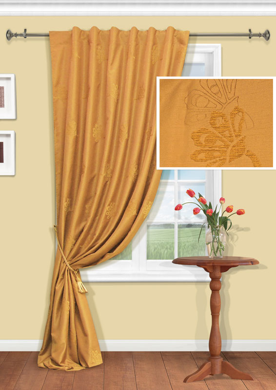 Штора Kauffort Анжелика, на тесьме-кулиске, цвет: золотистый, высота 275 смK100Изящная штора Kauffort Анжелика, выполненная из плотного полиэстера золотистого цвета, станет великолепным украшением любого окна. Оригинальная вышивка и нежная цветовая гамма привлекут к себе внимание и органично впишутся в интерьер помещения. Верхняя часть шторы оснащена тесьмой-кулиской для крепления на круглый карниз. Характеристики: Материал: 100% полиэстер. Цвет: золотистый. Размер упаковки: 38 см х 27 см х 3 см. Артикул: UN111409625.В комплект входит: Штора - 1 шт. Размер (Ш х В): 146 см х 275 см (отклонение размера ~1,5%). Уважаемые клиенты! Обращаем ваше внимание на тот факт, что подхват, изображенный на фотографии, в комплект не входит.