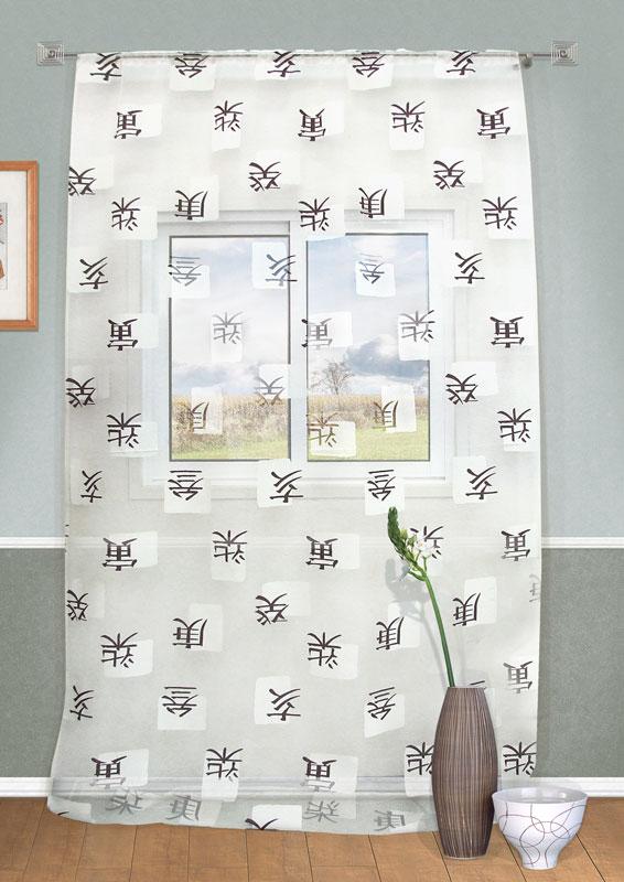 Штора Kauffort Ориент, на кулиске, цвет: серый, высота 273 смK100Оригинальная штора Kauffort Ориент выполнена из качественного материала, состоящего из полиэстера и вискозы. Полотно выполнено из прозрачной ткани серого цвета и декорировано иероглифами.Качественный материал, оригинальный дизайн и приятная цветовая гамма привлекут к себе внимание и органично впишутся в интерьер помещения. Штора оснащена кулиской для крепления на круглый карниз и шторной лентой для красивой сборки.Штора Kauffort Ориент великолепно украсит любое окно. Характеристики: Материал: 25% полиэстер, 75% вискоза. Цвет: серый. Размер упаковки: 37 см х 27 см х 2 см. Артикул: UN111483195.В комплект входит: Штора - 1 шт. Размер (Ш х В): 160 см х 273 см (отклонение размера ~ 1,5%).