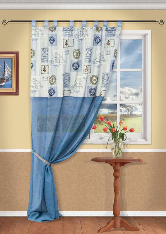 Штора Kauffort Адмирал, на петлях, цвет: голубой, высота 270 смS03301004Штора Kauffort Адмирал выполнена из качественного материала, состоящего из хлопка и полиэстера. Верхняя часть шторы выполнена из плотного материала с рисунком на морскую тематику. Нижняя часть - из полупрозрачной сетчатой ткани голубого цвета.Качественный материал, оригинальный дизайн и приятная цветовая гамма привлекут к себе внимание и органично впишутся в интерьер помещения. Штора оснащена петлями для крепления на круглый карниз.Штора Kauffort Адмирал великолепно украсит любое окно. Характеристики: Материал: 25% полиэстер, 75% хлопок. Цвет: голубой. Размер упаковки: 37 см х 27 см х 3 см. Артикул: UN111831640.В комплект входит: Штора - 1 шт. Размер (Ш х В): 140 см х 270 см (отклонение размера ~ 1,5%). Уважаемые клиенты! Обращаем ваше внимание на тот факт, что подхват, изображенный на фотографии, в комплект не входит.
