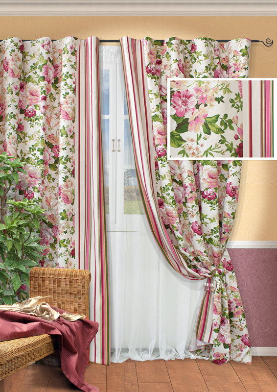 Комплект штор Kauffort Идилия, на ленте, цвет: розовый, бежевый, высота 270 см. UN123321670K100Роскошный комплект штор Kauffort Идилия состоит из двух портьер, тюля и двух подхватов. Портьеры изготовлены из плотной ткани белого цвета с ярким цветочным принтом, по бокам оформлены разноцветными вертикальными полосками. Тюль выполнен из легкой вуалевой ткани белого цвета. Для придания шторам изящного внешнего вида предусмотрены подхваты, оформленные рисунком в полоску. Оригинальная текстура ткани и яркая цветовая гамма привлекут к себе внимание и органично впишутся в интерьер помещения. Особенно удачно такой комплект будет смотреться в интерьере загородного дома или дачи.Шторы оснащены шторной лентой для красивой сборки. В комплекте - термоклеевая лента, которую также можно использовать для сборки. Характеристики: Материал: 46% полиэстер, 54% хлопок. Цвет: розовый, бежевый. Размер упаковки: 30 см х 37 см х 9 см. Артикул: UN123321670.В комплект входит: Портьера - 2 шт. Размер (Ш х В): 167 см х 270 см. Тюль - 1 шт. Размер (Ш х В): 450 см х 270 см. Подхват - 2 шт.
