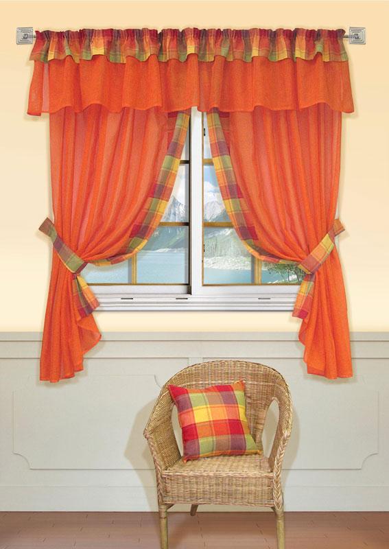 Комплект штор Kauffort Лайт, на ленте, цвет: оранжевый, высота 170 см1004900000360Комплект Kauffort Лайт состоит из двух штор, двух подхватов и ламбрекена. Предметы комплекта выполнены из качественного материала, изготовленного из хлопка, полиэстера и акрила. Шторы и ламбрекен, выполненные из сетчатого полотна оранжевого цвета, декорированы плотными текстильными вставками с клетчатым рисунком. Качественный материал, оригинальный дизайн и контрастная цветовая гамма привлекут к себе внимание и органично впишутся в интерьер помещения. Шторы и ламбрекен оснащены лентой для красивой сборки. Характеристики: Материал: 38% полиэстер, 32% хлопок, 30% акрил. Цвет: оранжевый. Размер упаковки: 36 см х 28 см х 4 см. Артикул: UN123500130.В комплект входит: Штора - 2 шт. Размер (Ш х В): 163 см х 170 см (отклонение размера ~1,5%). Ламбрекен - 1 шт. Размер (Ш х В): 280 см х 40 см (отклонение размера ~1,5%). Подхват - 2 шт. Размер (Ш х Д): 6 см х 72 см (отклонение размера ~1,5%).