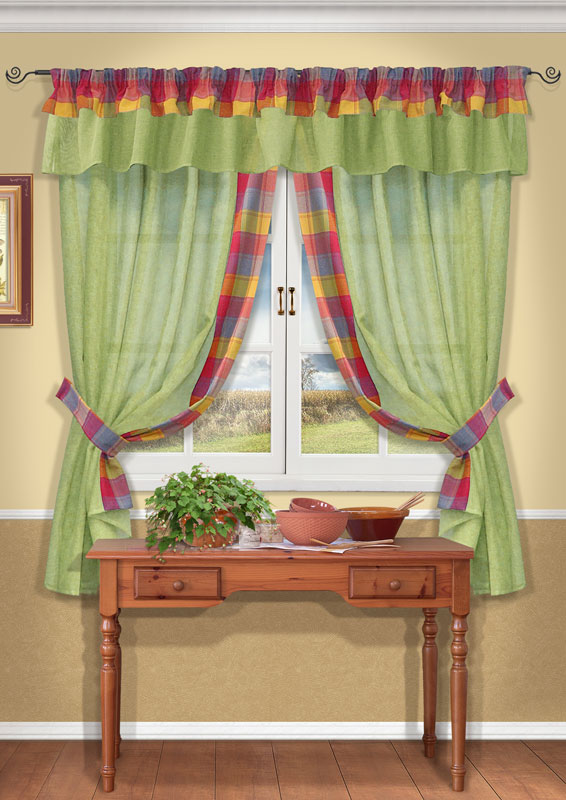 Комплект штор Kauffort Лайт, на ленте, цвет: зеленый, высота 170 смK100Комплект Kauffort Лайт состоит из двух штор, двух подхватов и ламбрекена. Предметы комплекта выполнены из качественного материала, изготовленного из хлопка, полиэстера и акрила. Шторы и ламбрекен, выполненные из сетчатого полупрозрачного полотна зеленого цвета, декорированы плотными текстильными вставками с разноцветным клетчатым рисунком. Подхваты также выполнены из полиэстера в клетку.Качественный материал, оригинальный дизайн и контрастная цветовая гамма привлекут к себе внимание и органично впишутся в интерьер помещения. Шторы и ламбрекен оснащены лентой для красивой сборки.Комплект штор Kauffort Лайт великолепно украсит любое окно. Характеристики: Материал: 38% полиэстер, 32% хлопок, 30% акрил. Цвет: зеленый. Размер упаковки:40 см х 27 см х 2 см. Артикул: UN123500181.В комплект входит: Штора - 2 шт. Размер (Ш х В): 163 см х 170 см (отклонение размера ~1,5%). Подхват - 2 шт. Размер (Ш х Д): 6 см х 72 см. Ламбрекен - 1 шт. Размер (Ш х Д): 40 см х 280 см.