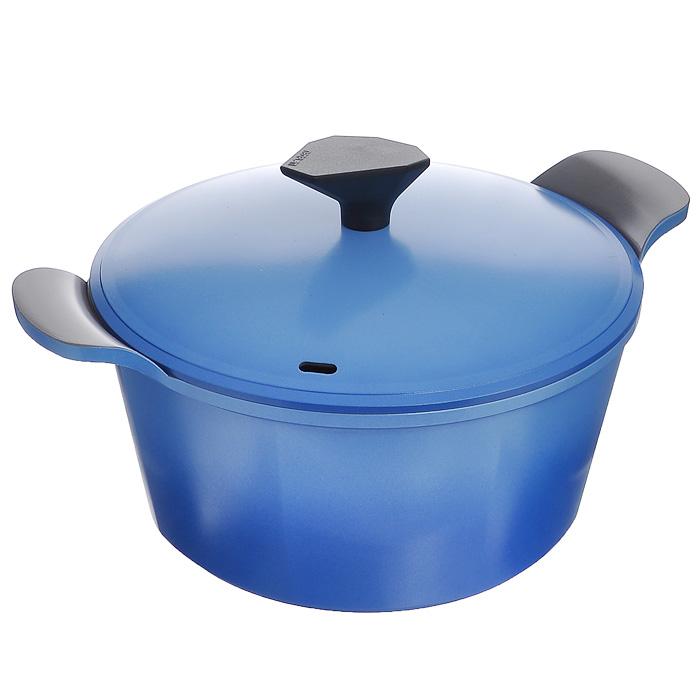 Кастрюля Frybest Azure с крышкой, цвет: голубой, серый, 4,5 л