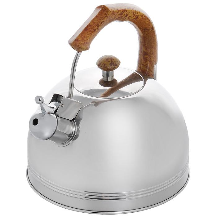Чайник Appetite со свистком, 3,5 л. 003BR003BR кор.ручкаЧайник Appetite изготовлен из высококачественной нержавеющей стали с 3-х слойным термоаккумулирующим дном. Нержавеющая сталь обладает высокой устойчивостью к коррозии, не вступает в реакцию с холодными и горячими продуктами и полностью сохраняет их вкусовые качества. Особая конструкция дна способствует высокой теплопроводности и равномерному распределению тепла. Чайник оснащен коричневой пластиковой удобной ручкой. Носик чайника имеет откидной свисток, звуковой сигнал которого подскажет, когда закипит вода. Чайник Appetite пригоден для использования на всех видах плит, кроме индукционных. Можно мыть в посудомоечной машине. Характеристики:Материал:нержавеющая сталь, пластик. Объем:3,5 л. Диаметр основания чайника: 22 см. Высота чайника (с учетом ручки):24 см. Размер упаковки: 22,5 см х 25 см х 22,5 см. Артикул: 003BR.