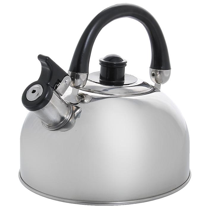Чайник Appetite со свистком, 2 лKT-5923.2.5Чайник Appetite изготовлен из высококачественной нержавеющей стали с 3-х слойным термоаккумулирующим дном. Нержавеющая сталь обладает высокой устойчивостью к коррозии, не вступает в реакцию с холодными и горячими продуктами и полностью сохраняет их вкусовые качества. Особая конструкция дна способствует высокой теплопроводности и равномерному распределению тепла. Чайник оснащен черной пластиковой ручкой, которую при желании можно опустить. Носик чайника имеет откидной свисток, звуковой сигнал которого подскажет, когда закипит вода. Чайник Appetite пригоден для использования на всех видах плит, кроме индукционных. Можно мыть в посудомоечной машине. Характеристики:Материал:нержавеющая сталь, пластик. Объем:2 л. Диаметр основания чайника: 19 см. Высота чайника (с учетом ручки):19 см. Высота чайника (без учета ручки):10 см. Размер упаковки: 19 см х 19 см х 15 см. Артикул: MK-2502.