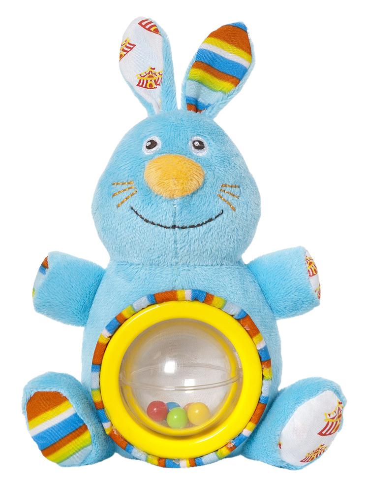 Мягкая игрушка-погремушка Фокусник Зайка, цвет круга: желтый