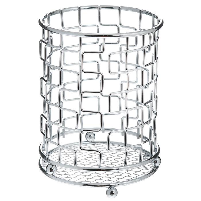 Подставка для столовых приборов Trina. 93-TR-05-03FA-5125 WhiteПодставка для столовых приборов Linea Trina представляет собой каркас из нержавеющей стали со стальной сеткой в нижней части, подставка на трех шарообразных ножках. Подставка позволяет аккуратно хранить основные типы столовых приборов. Вы можете установить ее в любом удобном месте. Такая подставка для столовых приборов станет полезным аксессуаром в домашнем быту и идеально впишется в интерьер современной кухни. Характеристики: Материал: нержавеющая сталь. Высота подставки: 14 см. Диаметр подставки: 10,5 см. Артикул: 93-TR-05-03.
