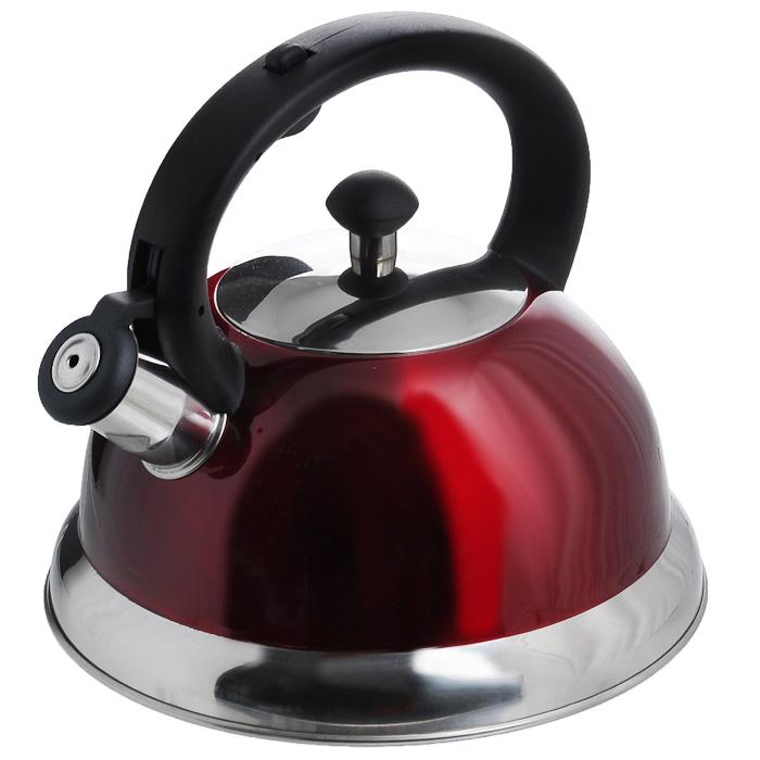 Чайник Appetite со свистком, цвет: красный, 2,5 л. HSK-H06354 009312Чайник Appetite изготовлен из высококачественной нержавеющей стали с 3-х слойным термоаккумулирующим дном. Нержавеющая сталь обладает высокой устойчивостью к коррозии, не вступает в реакцию с холодными и горячими продуктами и полностью сохраняет их вкусовые качества. Особая конструкция дна способствует высокой теплопроводности и равномерному распределению тепла. Чайник оснащен черной пластиковой удобной ручкой, свистком и устройством для открывания носика. Чайник Appetite пригоден для использования на всех видах плит, кроме индукционных. Можно мыть в посудомоечной машине. Характеристики:Материал:нержавеющая сталь, пластик. Цвет:красный. Объем:2,5 л. Диаметр основания чайника: 22 см. Высота чайника (с учетом ручки):21 см. Размер упаковки: 22,5 см х 22,5 см х 21,5 см. Артикул: HSK-H063/красный.