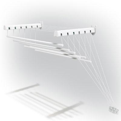 Сушилка для белья Gimi Lift 140, настенно-потолочная10460143Сушилка для белья Lift 140, выполненная из стали, покрытой эпоксидным порошком, и пластика, имеет 6 текстильных струн длиной 140 сантиметров каждая, которые выдерживают до 15 кг белья. Специальный механизм обеспечивает подъем и опускание направляющих, чтобы облегчить процесс развешивания белья. Сушилка имеет складной механизм, благодаря которому она не займет много места.Сушилка Lift 140 крепится к стене в любом удобном для вас месте: в ванне, на балконе, в комнате. Характеристики: Материал: сталь, покрытая эпоксидным порошком, текстиль. Размер сушилки в разложенном виде (ДхШхВ): 140 см х 43 см х 135 см. Длина струны: 140 см. Общая длина рабочей поверхности: 8,5 м. Размер упаковки: 143 см х 10 см х 5 см. Производитель: Италия.