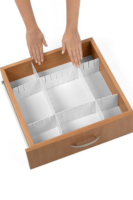 """Разделитель для ящиков """"Loks"""", цвет: белый, 43 х 9 см, 4 шт"""