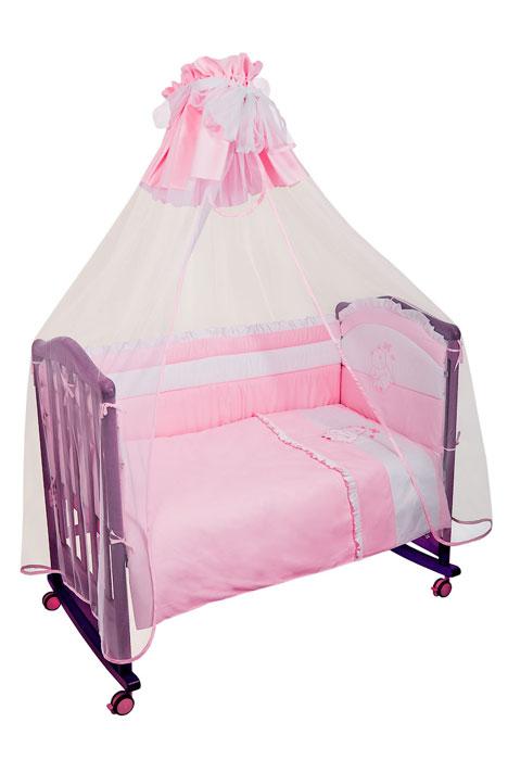 """Бампер в кроватку """"Пушистик"""" состоит из четырех частей и закрывает весь периметр кроватки. Бортик крепится к кроватке с помощью специальных завязок, благодаря чему его можно поместить в любую детскую кроватку. Бампер выполнен из сатина - натурального хлопка безупречной выделки. Деликатные швы рассчитаны на прикосновение к нежной коже ребенка. Бампер оформлен оборками и вышитой аппликацией в виде белого медвежонка. Наполнителем служит холлкон - эластичный синтетический материал, экологически безопасный и гипоаллергенный, обладающий высокими теплозащитными свойствами. Бампер защитит ребенка от возможных ударов о деревянные или металлические части кроватки. Бортик подходит для кроватки размером 120 см х 60 см."""