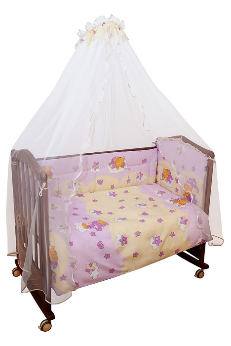 Комплект в кроватку Мишкин сон, цвет: розовый, 7 предметовbear-blue-50Комплект в кроватку Мишкин сон прекрасно подойдет для кроватки вашего малыша, добавит комнате уюта и согреет в прохладные дни. В качестве материала верха использован натуральный хлопок, мягкая ткань не раздражает чувствительную и нежную кожу ребенка и хорошо вентилируется. Бампер, подушка и одеяло наполнены холлконом - экологически безопасным гипоаллергенным синтетическим материалом, обладающим высокими теплозащитными свойствами. Элементы комплекта оформлены изображениями симпатичных медвежат.Комплект состоит из: бампера с несъемными чехлами,балдахина с сеткой,подушки с клапаном,одеяла,пододеяльника,наволочки,простыни.Для производства изделий Сонный гномик используются только высококачественные ткани ведущих мировых производителей. Благодаря особым технологиям сбора и переработки хлопка сохраняется естественная природная структура волокна. Характеристики:Материал: бязь, 100% хлопок. Наполнитель бампера, подушки и одеяла: холлкон. Материал балдахина: сетка. Размер одеяла: 140 см х 108 см. Размер бампера: 360 см х 38 см. Размер балдахина: 450 см х 170 см. Размер подушки: 60 см х 40 см. Размер пододеяльника: 144 см х 110 см. Размер наволочки: 60 см х 40 см. Размер простыни: 140 см х 100 см.