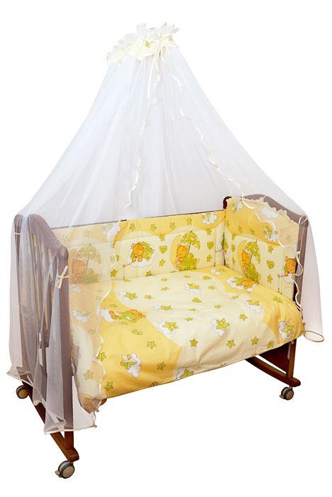 Комплект в кроватку Мишкин сон, цвет: бежевый, 7 предметов398344Комплект в кроватку Мишкин сон прекрасно подойдет для кроватки вашего малыша, добавит комнате уюта и согреет в прохладные дни. В качестве материала верха использован натуральный хлопок, мягкая ткань не раздражает чувствительную и нежную кожу ребенка и хорошо вентилируется. Бампер, подушка и одеяло наполнены холлконом - экологически безопасным гипоаллергенным синтетическим материалом, обладающим высокими теплозащитными свойствами. Элементы комплекта оформлены изображениями симпатичных медвежат.Комплект состоит из: бампера с несъемными чехлами,балдахина с сеткой,подушки с клапаном,одеяла,пододеяльника,наволочки,простыни.Для производства изделий Сонный гномик используются только высококачественные ткани ведущих мировых производителей. Благодаря особым технологиям сбора и переработки хлопка сохраняется естественная природная структура волокна. Характеристики:Материал: бязь, 100% хлопок. Наполнитель бампера ,подушки и одеяла: холлкон. Материал балдахина: сетка. Размер одеяла: 140 см х 110 см. Размер бампера: 360 см х 38 см. Размер балдахина: 450 см х 170 см. Размер подушки: 60 см х 40 см. Размер пододеяльника: 144 см х 108 см. Размер наволочки: 60 см х 40 см. Размер простыни: 140 см х 100 см.