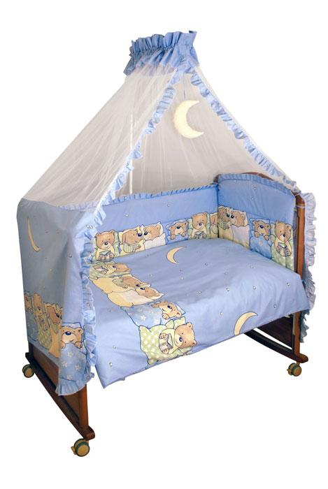 Комплект в кроватку Лежебоки, цвет: голубой, 7 предметов2615S545JBКомплект в кроватку Лежебоки прекрасно подойдет для кроватки вашего малыша, добавит комнате уюта и согреет в прохладные дни. В качестве материала верха использован натуральный хлопок, мягкая ткань не раздражает чувствительную и нежную кожу ребенка и хорошо вентилируется. Наполнение одеяла и подушки из файберпласта - легкого синтетического абсолютно безопасного материала, благодаря которому они экологичны, гипоаллергенны, не деформируются и хорошо держат тепло. Бампер наполнен холлконом - экологически безопасным гипоаллергенным синтетическим материалом, обладающим высокими теплозащитными свойствами. Элементы комплекта оформлены изображениями симпатичных медвежат и собачек в постельках.Комплект состоит из: бампера,балдахина с сеткой,подушки с клапаном,одеяла,пододеяльника,наволочки,простыни.Для производства изделий Сонный гномик используются только высококачественные ткани ведущих мировых производителей. Благодаря особым технологиям сбора и переработки хлопка сохраняется естественная природная структура волокна. Характеристики:Материал: бязь, 100% хлопок. Наполнитель бампера: холлкон. Материал сетки балдахина: 100% полиэстер. Наполнитель подушки и одеяла: файберпласт (100% полиэстер). Размер одеяла: 140 см х 110 см. Размер бампера: 360 см х 50 см. Размер балдахина: 450 см х 175 см. Размер подушки: 60 см х 40 см. Размер пододеяльника: 144 см х 108 см. Размер наволочки: 60 см х 40 см. Размер простыни: 140 см х 100 см.