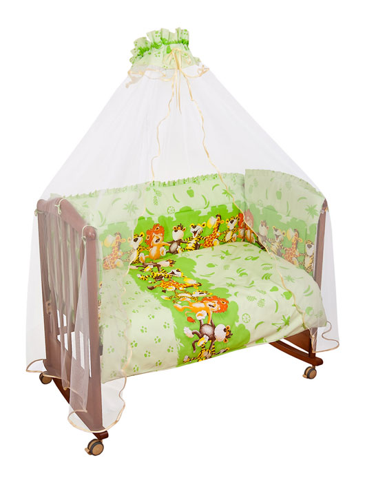 Комплект в кроватку Африка, цвет: светло-зеленый, 7 предметов4630008870648Комплект в кроватку Африка прекрасно подойдет для кроватки вашего малыша, добавит комнате уюта и согреет в прохладные дни. В качестве материала верха использован натуральный хлопок, мягкая ткань не раздражает чувствительную и нежную кожу ребенка и хорошо вентилируется. Наполнение одеяла и подушки из файберпласта - легкого синтетического абсолютно безопасного материала, благодаря которому они экологичны, гипоаллергенны, не деформируются и хорошо держат тепло. Бампер наполнен холлконом - экологически безопасным гипоаллергенным синтетическим материалом, обладающим высокими теплозащитными свойствами. Элементы комплекта оформлены изображениями веселых танцующих зверят.Комплект состоит из: бампера,балдахина с сеткой,подушки с клапаном,одеяла,пододеяльника,наволочки,простыни.Для производства изделий Сонный гномик используются только высококачественные ткани ведущих мировых производителей. Благодаря особым технологиям сбора и переработки хлопка сохраняется естественная природная структура волокна. Характеристики:Материал: бязь, 100% хлопок. Наполнитель бампера: холлкон. Материал сетки балдахина: 100% полиэстер. Наполнитель подушки и одеяла: файберпласт (100% полиэстер). Размер одеяла: 140 см х 110 см. Размер бампера: 360 см х 50 см. Размер балдахина: 450 см х 175 см. Размер подушки: 60 см х 40 см. Размер пододеяльника: 144 см х 108 см. Размер наволочки: 60 см х 40 см. Размер простыни: 140 см х 100 см.
