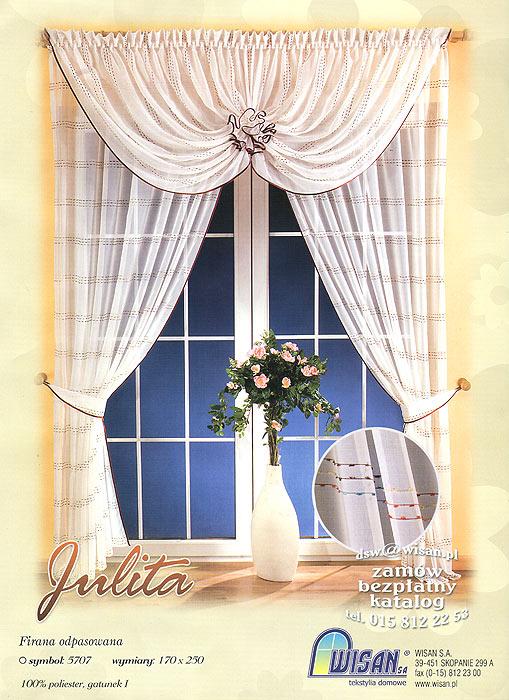 Комплект штор Julita, на ленте, цвет: белый, бордовый, высота 250 смUN111650630Комплект штор Julita, выполненный из легкого полиэстера белого цвета, великолепно украсит любое окно. Комплект состоит из двух штор и ламбрекена. Для более изящного расположения штор прилагаются подхваты. Предметы комплекта украшены атласным кантом бордового цвета и нарядной вышивкой в виде разноцветных полосок. В ламбрекен вшиты шторные ленты для собирания в сборки. Тонкое плетение, оригинальный дизайн и нежная цветовая гамма привлекут к себе внимание и органично впишутся в интерьер комнаты. Все предметы комплекта - на шторной ленте для собирания в сборки. Характеристики: Материал: 100% полиэстер. Цвет: белый, бордовый. Размер упаковки:38 см х 28 см х 7 см. Артикул: 657315.В комплект входят: Штора - 2 шт. Размер (Ш х В): 170 см х 250 см. Ламбрекен - 1 шт. Размер (Ш х В): 360 см х 160 см. Подхват - 2 шт. Фирма Wisan на польском рынке существует уже более пятидесяти лет и является одной из лучших польских фабрик по производству штор и тканей. Ассортимент фирмы представлен готовыми комплектами штор для гостиной, детской, кухни, а также текстилем для кухни (скатерти, салфетки, дорожки, кухонные занавески). Модельный ряд отличает оригинальный дизайн, высокое качество. Ассортимент продукции постоянно пополняется.