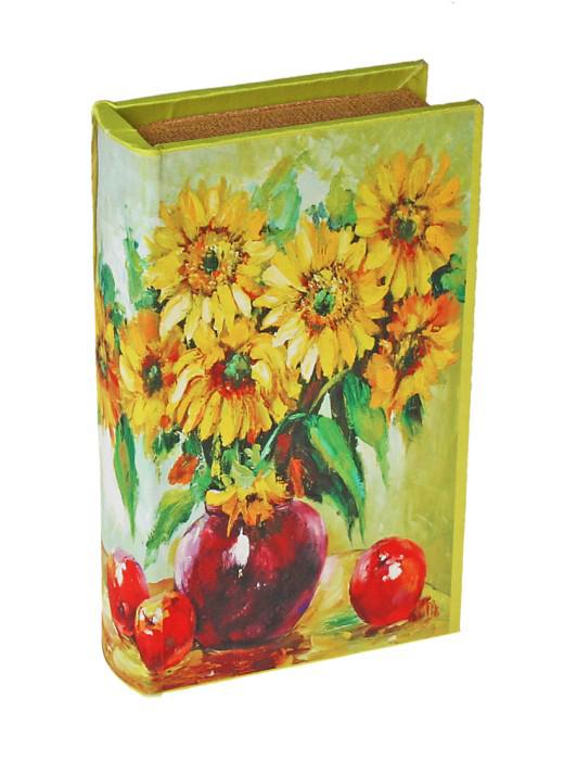 Шкатулка-книга Букет подсолнухов25051 7_зеленыйШкатулка-книга Букет подсолнухов изготовлена из дерева. Оригинальное оформление шкатулки, несомненно, привлечет внимание. Шкатулка выполнена в виде книги с изображением яркого букета подсолнухов в вазе. Поверхность шкатулки выполнена из шёлка. Такая шкатулка может использоваться для хранения бижутерии, в качестве украшения интерьера, а также послужит хорошим подарком для человека, ценящего практичные и оригинальные вещицы. Характеристики:Материал: дерево, кожзам, шёлк. Размер шкатулки (в закрытом виде): 17 см х 11 см х 5 см. Размер упаковки: 18 см х 12 см х 6 см. Артикул: 444012.