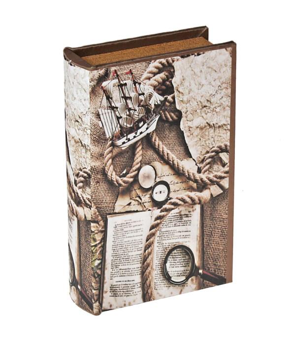 Шкатулка-книга Ветер странствийRG-D31SШкатулка-книга Ветер странствий изготовлена из дерева. Оригинальное оформление шкатулки, несомненно, привлечет внимание. Шкатулка изготовлена в виде книги, поверхность которой выполнена из шёлка.Такая шкатулка может использоваться для хранения бижутерии, в качестве украшения интерьера, а также послужит хорошим подарком для человека, ценящего практичные и оригинальные вещицы. Характеристики:Материал: дерево, шёлк, металл, кожзам. Цвет: коричневый. Размер шкатулки (в закрытом виде): 17 см х 11 см х 5 см. Размер упаковки: 18 см х 12 см х 5,5 см. Артикул: 444018.