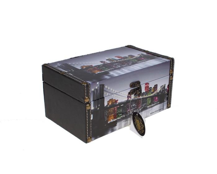 Шкатулка-сундучок Ночной город, 22 х 14 х 11,5 см шкатулки patricia шкатулка для медикаментов 16 13 7 26см