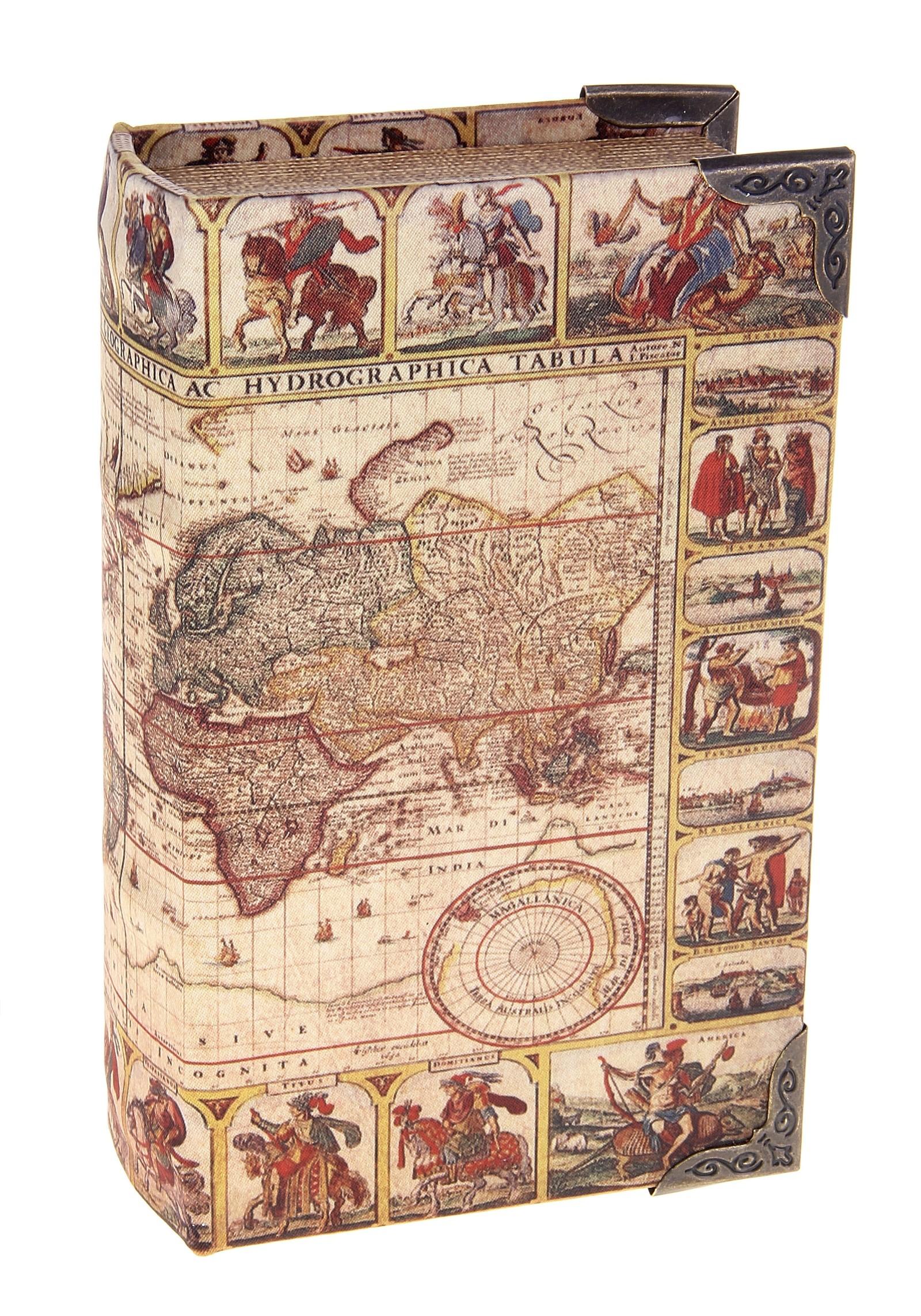 Шкатулка-книга Карта исследователя10850/1W GOLD IVORYШкатулка-книга Карта исследователя изготовлена из дерева. Оригинальное оформление шкатулки, несомненно, привлечет внимание. Шкатулка изготовлена в виде книги, поверхность которой выполнена из шёлка и оформлена изображением старинной карты мира. Такая шкатулка может использоваться для хранения бижутерии, в качестве украшения интерьера, а также послужит хорошим подарком для человека, ценящего практичные и оригинальные вещицы. Характеристики:Материал: дерево, шёлк, металл, кожзам. Цвет: коричневый. Размер шкатулки (в закрытом виде): 17 см х 11 см х 5 см. Размер упаковки: 18 см х 12 см х 5,5 см. Артикул: 680635.