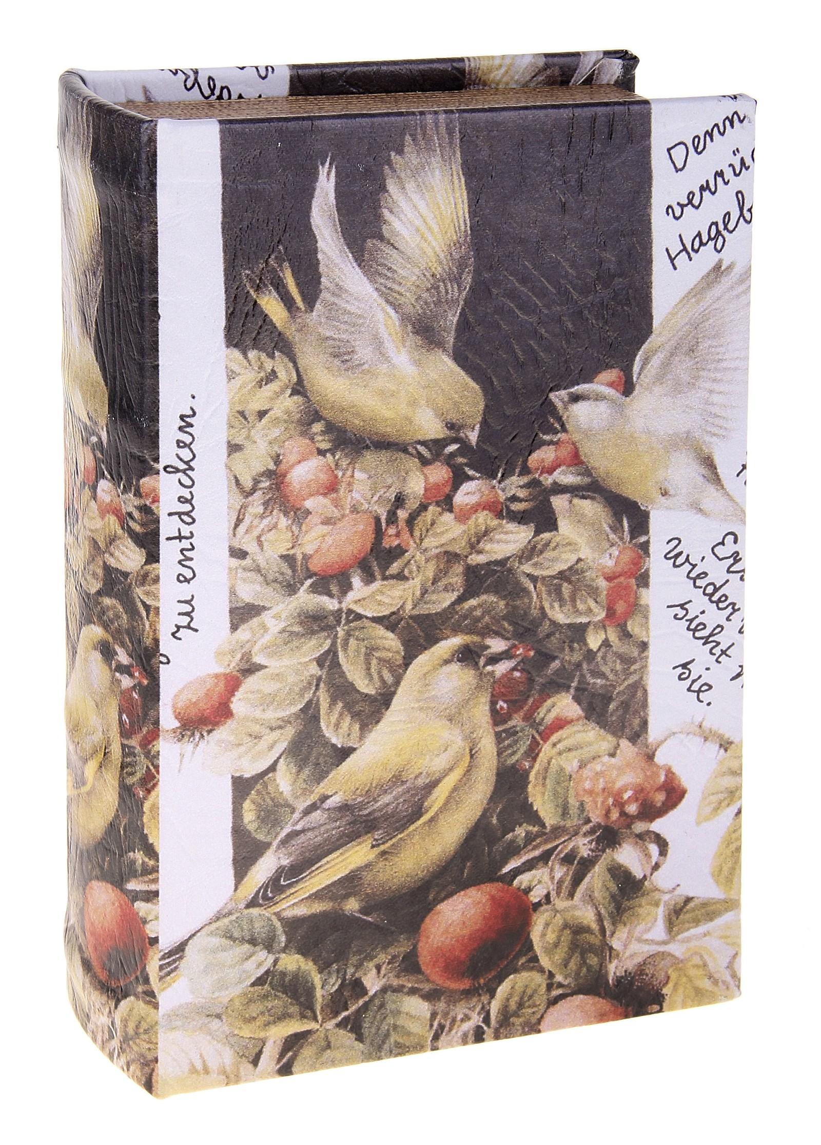 Шкатулка Иволга. 680689RG-D31SШкатулка Иволга, выполненная в виде книги, не оставит равнодушной ни одну любительницу изысканных вещей. Шкатулка изготовлена из дерева и обтянута искусственной кожей с изображением птичек. Внутренняя поверхность шкатулки отделана искусственной кожей.Сочетание оригинального дизайна и функциональности сделает такую шкатулку практичным и стильным подарком, а также предметом гордости ее обладательницы. Характеристики:Материал:дерево, кожзаменитель. Размер шкатулки:11 см х 17 см х 5 см. Внутренный размер шкатулки: 8 см х 14 см х 4 см. Размер упаковки:12 см х 18 см х 6 см. Артикул:680689.