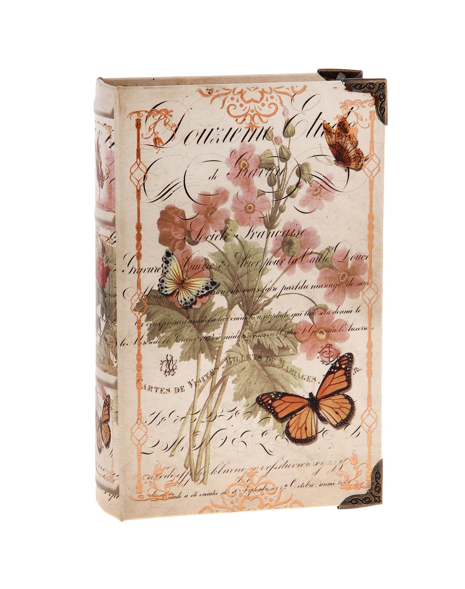 Шкатулка-книга Полевые цветы34551Оригинальное оформление шкатулки, несомненно, привлечет внимание. Шкатулка изготовлена в виде книги из дерева, поверхность которой выполнена из шёлка и оформлена изображением прекрасной цветочной композиции в нежных тонах. Такая шкатулка может использоваться для хранения бижутерии, в качестве украшения интерьера, а также послужит хорошим подарком для человека, ценящего практичные и оригинальные вещицы. Характеристики:Материал: дерево, шёлк, металл. Цвет: коричневый. Размер шкатулки (в закрытом виде): 24 см х 16 см х 5 см. Размер упаковки: 24,5 см х 16 см х 5 см. Артикул: 680713.