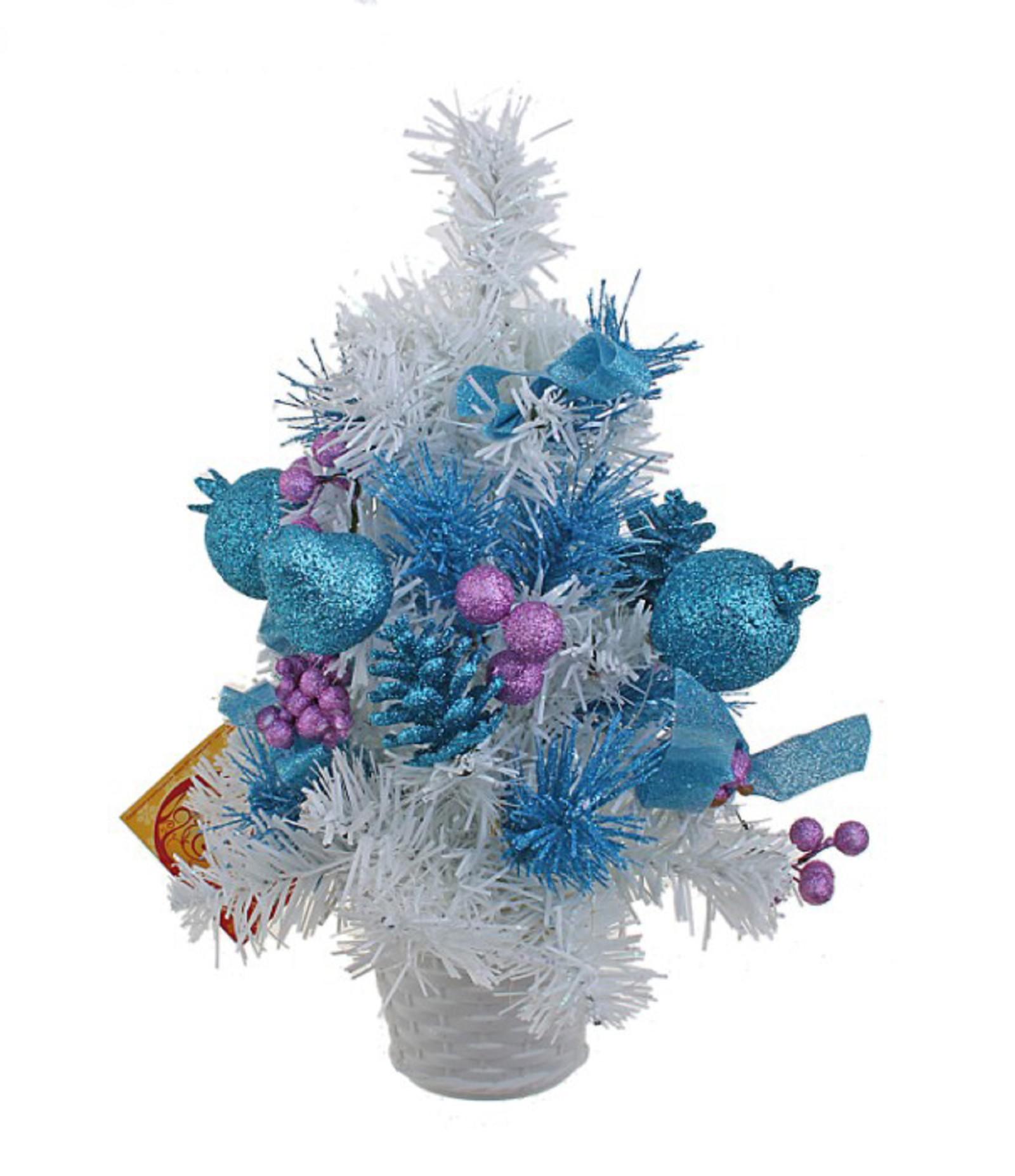Декоративное украшение Новогодняя елочка, цвет: белый, голубой, сиреневый, высота 30 см. 705177BH0429_белыйДекоративное украшение, выполненное из пластика - мини-елочка для оформления интерьера к Новому году. Ее не нужно ни собирать, ни наряжать, зато настроение праздника она создает очень быстро. Елка украшена шишками, лентами, елочными игрушками и шариками. Елка украсит интерьер вашего дома или офиса к Новому году и создаст теплую и уютную атмосферу праздника.Откройте для себя удивительный мир сказок и грез. Почувствуйте волшебные минуты ожидания праздника, создайте новогоднее настроение вашим дорогим и близким. Характеристики:Материал: пластик, металл, текстиль. Цвет: белый, голубой, сиреневый. Размер елочки: 17 см х 17 см х 30 см. Артикул: 705177.