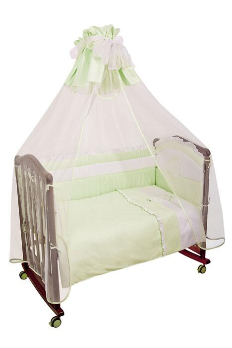 Комплект в кроватку Пушистик, цвет: зеленый, 7 предметов матрасы  подушки и одеяла