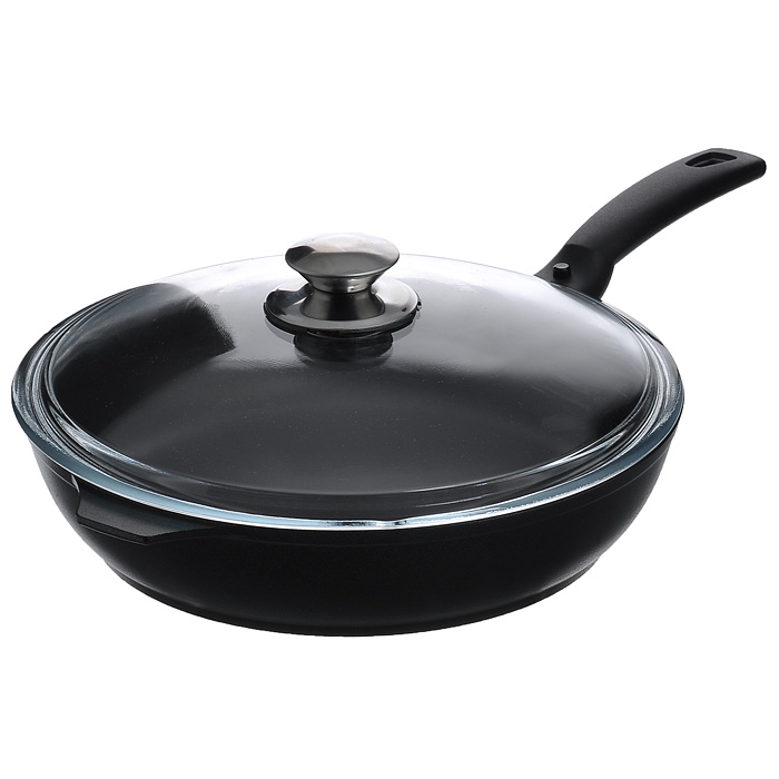 Сковорода Kukmara с крышкой, c антипригарным покрытием, цвет: черный. Диаметр 26 см. с266а54 009312Сковорода Kukmara изготовлена из литого алюминия с экологически безопасным керамическим антипригарным покрытием Greblon.Особенности сковороды Kukmara:отлитая вручную толстостенная сковорода (не деформируется);экологически безопасное керамическое покрытие без содержания PFOA и PTFE;превосходные антипригарные свойства: пища не пригорает, быстро и легко готовится;устойчивость к воздействию неострых металлических аксессуаров (ложки, лопатки);высокая стойкость к истиранию;высокая стойкость к возникновению царапин, трещин;метод нанесения керамического покрытия - напыление, которое обеспечивает высокую надежность и долговечность покрытия;высокая теплопроводность и эргономичность;использование минимального количества масла;глянцевая поверхность обладает высоким скольжением, легко моется;проточка дна;равномерное распределение тепла по всех поверхности сковороды;экономия электроэнергии;яркий дизайн;удобная съемная ручка с покрытием soft-touch;крышка из термостойкого стекла;подходит для всех типов плит, кроме индукционных;можно мыть в посудомоечной машине.Сковорода Kukmara позволит превратить обыкновенный процесс приготовления пищи в приятное и легкое занятие для любой хозяйки. Характеристики: Материал: литой алюминий. Цвет: черный. Внутренний диаметр сковороды: 26 см. Диаметр диска сковороды: 21 см. Высота стенок сковороды: 7 см. Артикул: с266а.