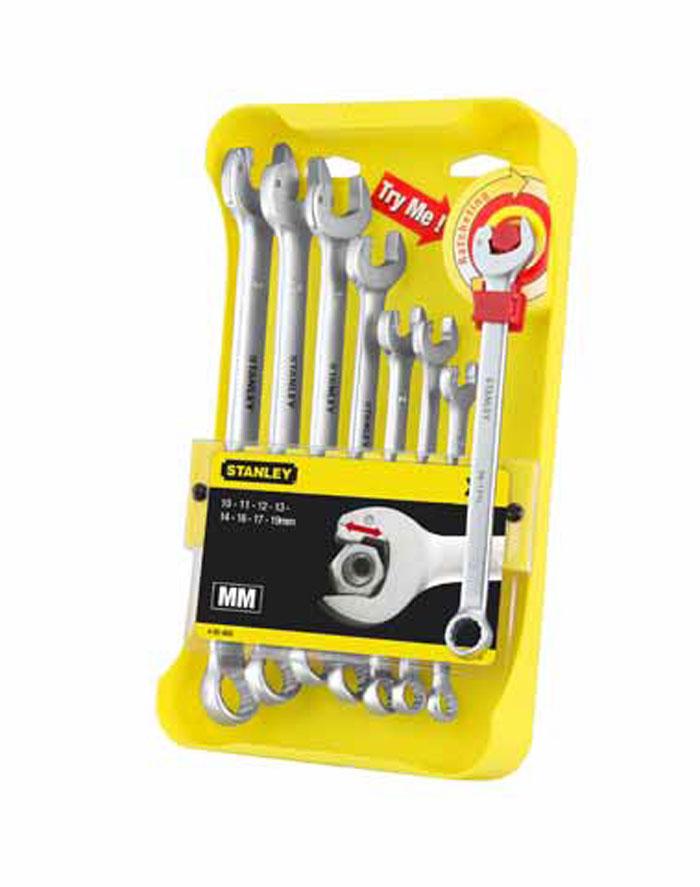 Набор комбинированных гаечных ключей Stanley Ratcheting Wrench, 8 шт2706 (ПО)Набор комбинированных гаечных ключей Stanley Ratcheting Wrench предназначен для профессионального применения в решении сантехнических, строительных и авторемонтных задач, а также для бытового использования.Комбинированный ключ представляет собой соединение рожкового и накидного гаечных ключей. Обе стороны комбинированного ключа имеют одинаковый размер. Комбинированный ключ - это необходимый предмет в каждом доме. Более эффективное и быстрое затягивание крепежных элементов. Специальный профиль головки рожкового ключа позволяет работать как с храповиком, устраняется необходимость каждый раз устанавливать ключ на крепежный элемент. Надежная конструкция, протестирована на выполнение более 50000 рабочих циклов. Простота использования: фаска на губках позволяет легко устанавливать и снимать ключ с крепежного элемента. Экономия времени: примерно на 50% по сравнению с обычными рожковыми ключами. Конструкция с компактными и плоскими головками для работы в труднодоступных местах. Защита от повреждения крепежного элемента: усилие передается на грани, а не на углы, что обеспечивает боле эффективную передачу крутящего момента без скругления углов гайки. 12-гранный профиль головки накидного ключа для лучшей передачи крутящего момента. Прочная кованая конструкция из хромванадиевой стали. Удобство работы с лучшим захватом инструмента за счет утолщенного тела ключа с увеличенной площадью поверхности.В набор входят ключт на 10 мм, 11 мм, 12 мм, 13 мм, 14 мм, 16 мм, 17 мм, 19 мм. Характеристики:Материал: металл. Размер упаковки: 30 см х 17 см x 5 см.