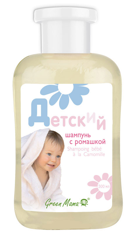 Детский шампунь с ромашкой, 300 мл0271Волосы у ребенка тонкие и мягкие. Они нуждаются в особой заботе. Поэтому мы создали шампунь специально для детей. Экстракты ромашки и чистотела усилят рост волос, а пшеничные протеины придадут им силу и упругость. Шампунь pH-нейтральный, очищает бережно и не щиплет глаза. Мыть волосы будет приятно, а расчесывать - легко. Характеристики: Производитель:Россия. Объем: 300 мл. Форма выпуска: флакон. Франко-российская производственная компания Green Mama была образована в 1996 году и выросла из небольшого семейного бизнеса. В настоящее время Green Mama является одним из признанных мировых специалистов в области разработки и производства натуральных косметических продуктов. Косметические средства Green Mama содержат только натуральные растительные компоненты, без животных жиров. Содержание натуральных компонентов в средствах Green Mama достигает 98%. Чтобы создать такой продукт специалисты компании используют новейшие достижения науки и технологии косметического производства. В компании разработана и принята в производстве концепция Aromaenergy, согласно которой в косметические продукты введены 100% натуральные эфирные масла. Кроме того, Green Mama полностью отказалась от использования синтетических отдушек и красителей, поэтому продукция компании является гипоаллергенной. Товар сертифицирован.