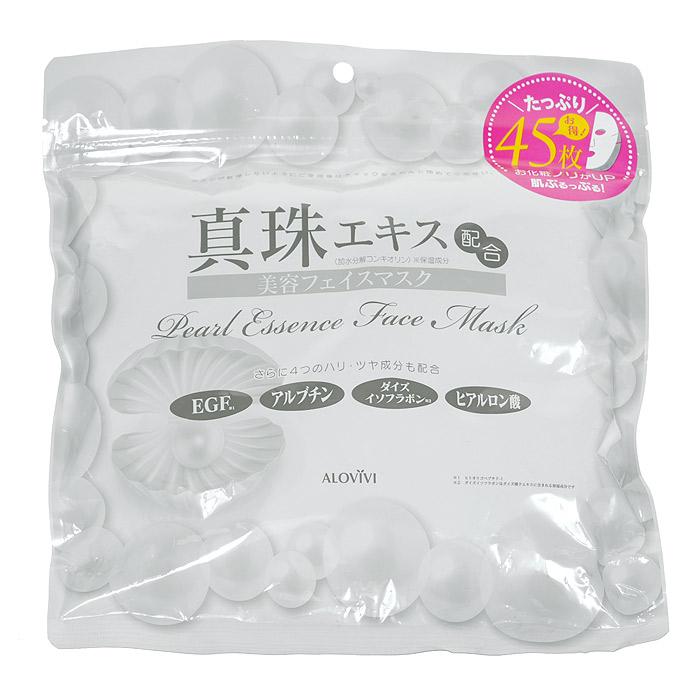 Alovivi Маска для лица с экстрактом жемчуга, 45 штFS-00897Маска Alovivi обеспечивает полноценный уход за кожей, сохраняет ее увлажненной, упругой и сияющей. Маска содержит такие ценные для здоровья кожи вещества, как натуральный жемчуг, EGF, арбутин, изофлавоноиды сои, гиалуроновую кислоту и папаин.Жемчуг представляет собой синтезируемый в теле моллюска биоминерал, состоящий из накладывающихся друг на друга слоев кальция и протеинов. Основной компонент жемчуга конхиолин - белковое вещество, известное благодаря своеобразному блеску, состоит из 17 аминокислот и по структуре напоминает кожный коллаген. Благодаря такому сходству, конхиолин эффективен для ухода за кожей. Он легко впитывается в клетки кожи, возвращая ей влажность, упругость и гладкость. Кроме того, конхиолин обладает антиоксидантными свойствами и стимулирует жизнедеятельность клеток.Способ применения: на чистое лицо нанесите 1 маску-салфетку совместив прорези для глаз и носа и оставьте на 10-15 минут для воздействия. Характеристики:Количество масок: 45 шт. Артикул: 201164. Производитель: Япония. Товар сертифицирован.