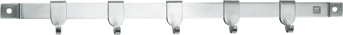 Держатель для кухонных принадлежностей TWIN Cuisine 40 см4630003364517Предназначен для удобного хранения кухонных принадлежностей. Состоит из металлической рейки с 5 крючками и крепежа. При изготовлении используется высококачественная нержавеющая сталь, обладающая высокой твердостью. Мыть теплой водой с применением жидкого моющего средства.Использовать по назначению...Адрес изготовителя: 679 Чанг Лин Роад, 201112 Шанхай, Китай (679 Chang Lin Road, 201112 Shanghai, China) Характеристики: Материал: нержавеющая сталь.Артикул: 37470-040.