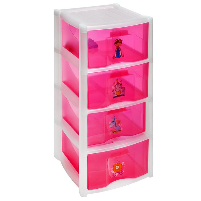 Комод детский Пластишка на колесах, цвет: розовый, 4 секции98295719Детский комод Пластишка изготовлен из высококачественного пластика розового цвета и декорирован красочными аппликациями. Комод предназначен для хранения различных вещей, игрушек, канцтоваров и состоит из четырех вместительных секций. Комод оснащен колесиками для удобства перемещения. Такой необычный и яркий комод надежно защитит детские вещи от загрязнений, пыли и моли, а также позволит вам хранить их компактно и с удобством. Характеристики:Материал: пластик. Цвет: розовый. Размер комода (Д х Ш х В): 39 см х 37 см х 78,5 см. Размер секции: 36 см х 37 см х 20 см. Размер упаковки: 39 см х 37 см х 78,5 см. Артикул: C13425.