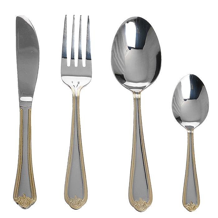 Набор столовых приборов Rosa, 24 предмета54 009312Роскошный набор столовых приборов Linea Rosa состоит из 6 ножей, 6 ложек, 6 вилок и 6 чайных ложек. Предметы набора выполнены из высококачественной нержавеющей стали с зеркальной полировкой, и оформлены на рукоятках фигурной штамповкой и имитацией золочения.Столовые приборы Linea Rosa прекрасно подходят для сервировки стола, как в домашнем быту, так и в профессиональных заведениях - кафе, ресторанах.Предметы набора соответствуют всем гигиеническим требованиям, не окисляются, отличаются высокой прочностью.Набор хранится в изысканной подарочной коробке, где каждый прибор надежно зафиксирован благодаря специальным выемкам.Эффектный дизайн, высокое качество изготовления и многофункциональность в использовании позволяют выделить набор столовых приборов Linea Rosa из ряда подобных. Характеристики:Материал: нержавеющая сталь.Длина ножа: 20,5 см.Длина ложки: 18,5 см.Длина чайной ложки: 13 см.Длина вилки: 18,5 см.Размер упаковки: 36,5 см х 25,5 см х 5 см.Артикул: 93-CU-RS-24.4.