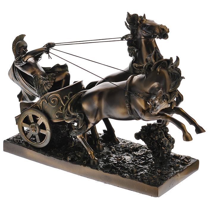 Статуэтка Римская колесница, высота 25 см1079925Статуэтка Римская колесница, выполненная из полистоуна, станет отличным украшением интерьера вашего дома или офиса. Статуэтка выполнена в виде римской колесницы с двумя запряженными конями и управляющего колесницей римского воина.Вы можете поставить статуэтку в любом месте, где она будет удачно смотреться, и радовать глаз. Также она может стать оригинальным подарком вашим близким или коллегам. Характеристики: Материал: полистоун. Цвет: бронзовый. Размер статуэтки (Ш х Д х В): 12 см х 33 см х 25 см. Размер упаковки: 39 см х 17 см х 27 см. Артикул: 127518.