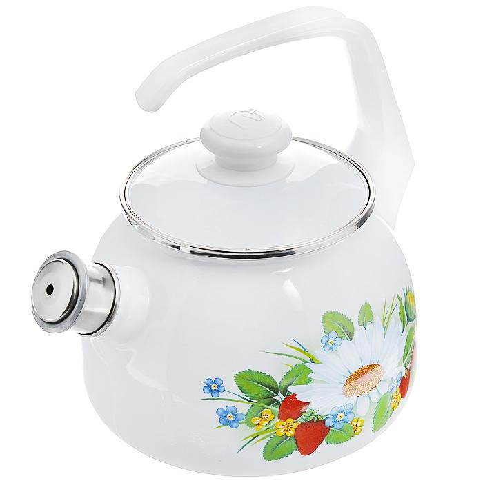 Чайник эмалированный Лесная, со свистком, 2,5 лD93361Чайник Лесная выполнен из высококачественной стали и покрыт эмалью белого цвета. Чайник имеет классическую форму, оснащен удобной ручкой. Корпус оформлен изображением цветов и ягод.Носик чайника имеет съемный свисток, звуковой сигнал которого подскажет, когда закипит вода.Такой чайник не требует особого ухода и его легко мыть.Благодаря классическому дизайну и удобству в использовании чайник займет достойное место на вашей кухне. Характеристики:Материал: сталь, эмаль, пластик.Цвет: белый.Объем: 2,5 л.Диаметр основания чайника: 17 см.Высота чайника с учетом ручки: 25 см.Размер упаковки: 25 см х 19 см х 19 см.